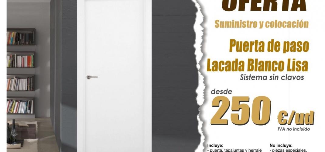 Oferta suministro y colocación puerta paso lacado blanco en Valencia