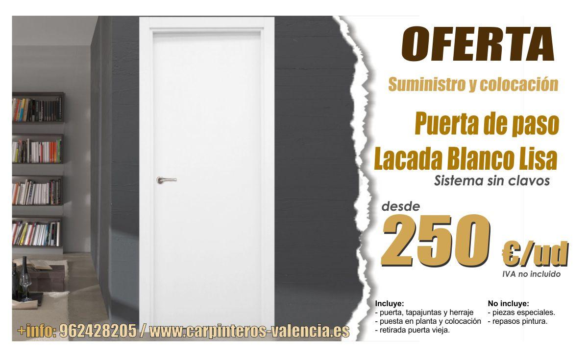Oferta puerta de paso lacada en blanco completamente - Carpinteros en valencia ...
