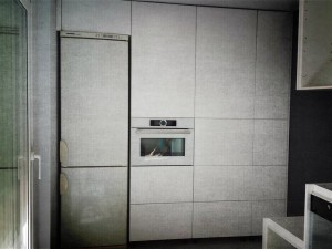 Cocina Moderna en lacado blanco. Frentes de armarios.  Efecto Fotográfico.