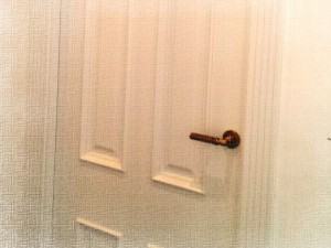 Puerta lacada en blanco estilo clásico. Foto retocada artístico.